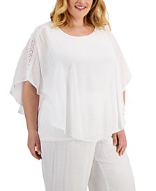 JM Collection Plus Size Lace-Trim Poncho Top, Created for Macy's