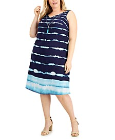 Plus Size Striped Tie-Dyed A-Line Dress, Created for Macy's
