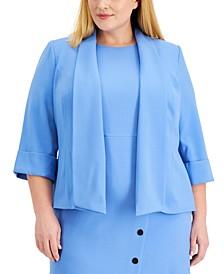 Plus Size Shawl-Collar Cuffed Jacket