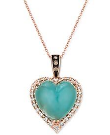 "Chocolatier® Aquaprase & Diamond (1/3 ct. t.w.) Heart 18"" Pendant Necklace in 14k Rose Gold"