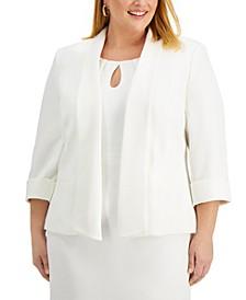 Plus Size Textured Piqué Shawl-Collar Jacket