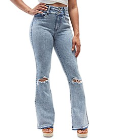 Juniors' Distressed Flare Jeans