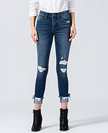 Women's Mid Rise Distressed Crop Skinny with Uneven Raw Hem Slanted Cuff Jeans