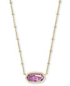 "14k Gold-Plated Stone 18"" Adjustable Pendant Necklace"