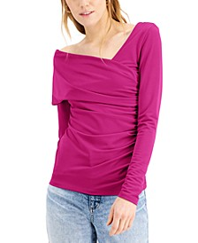INC Plus Size Asymmetrical Ruched Top, Created for Macy's
