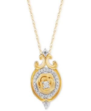 Diamond Belle 30th Anniversary Rose Pendant Necklace (1/7 ct. t.w.) in 14k Gold