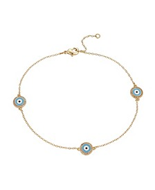 Gold Flash-Plated Evil Eye Anklet