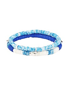 Fine Silver Plated Crystal Evil Eye and Blue Disk Bead Bracelet Set