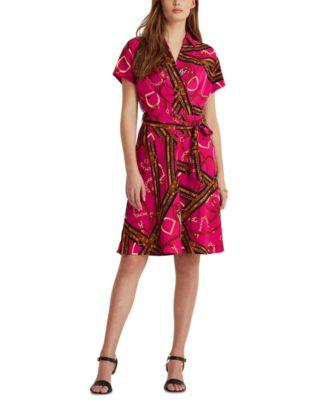 로렌 랄프로렌 Lauren Ralph Lauren Print Belted Crepe Dress,Aruba Pink/lh Navy/multi