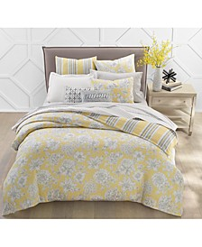 300-Thread Count Cotton Outline Botanical Reversible Duvet Sets, Created for Macy's