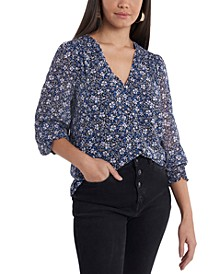 Smocked Detail Button-Up Top