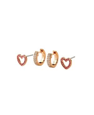 "Heart Extra Small Earrings Stud & 3/8"" Hoop Set"