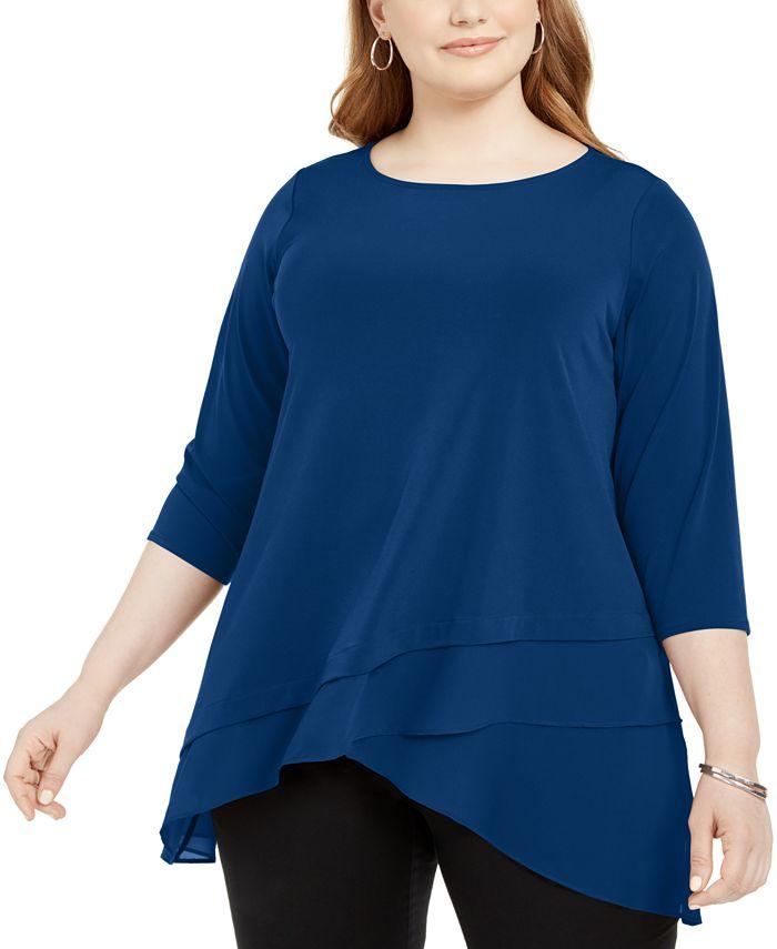 Alfani - Plus Size Crossover-Hem Tunic Top