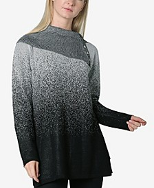 Ombre Jacquard Split Cowl Neck Sweater Top