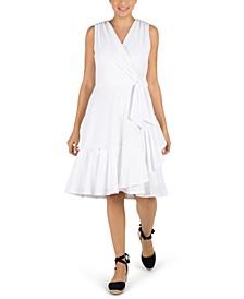 Petite Stretch Wrap-Style Eyelet Dress