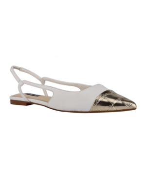 Nine West WOMEN'S BABEE SLINGBACK CAP TOE FLATS WOMEN'S SHOES