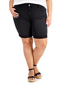 Plus Size Cuffed Denim Bermuda Shorts, Created for Macy's
