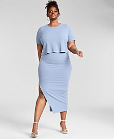 Trendy Plus Size Ribbed Knit Midi Skirt, Created for Macy's