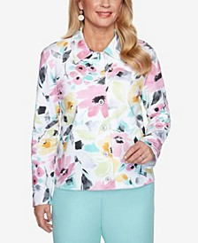 Plus Size Classics S1 Brushstroke Floral French Terry Jacket