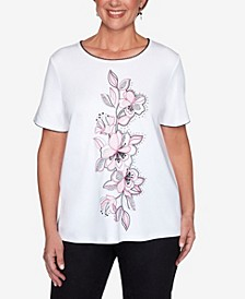 Plus Size Clean Getaway Center Embroidery Floral Top