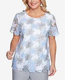 Plus Size French Bistro Lace Floral Top