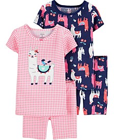 Toddler Girls Llama Snug Fit Pajamas, 4 Piece