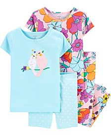 Toddler Girls Floral Birds Snug Fit Pajamas, 4 Piece