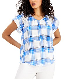 Cotton Plaid Flutter Sleeve Top, Created for Macy's