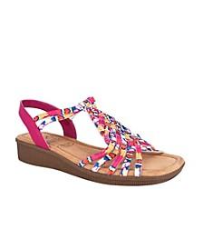 Rosette Wedge Sandal