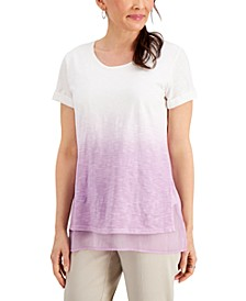 Petite Dip-Dyed Layered T-Shirt, Created for Macy's
