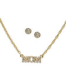 Gold-Tone Pavé Mom Pendant Necklace & Stud Earrings Set, Created for Macy's