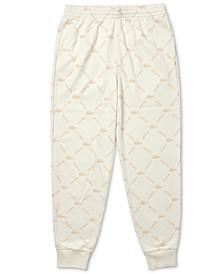 Men's L!VE Logo Grid-Print Fleece Track Pants