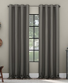 Grid Mosaic Recycled Fiber Blackout Grommet Curtain Panel