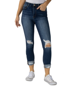 Juniors' Cropped Ripped Skinny Jeans
