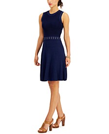 Ribbed Open-Back Laced-Waist Dress