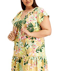 Plus Size Printed Flutter-Sleeve Dress, Created for Macy's