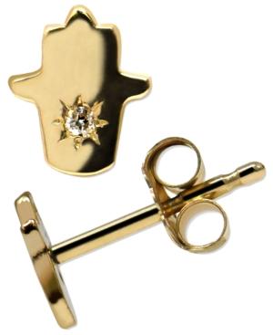 Jac + Jo By Anzie Jac + Jo Diamond Accent Hamsa Hand Stud Earrings In 14k Gold