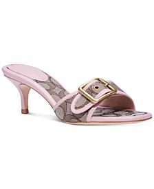 Women's Buckle Kitten-Heel Dress Sandals