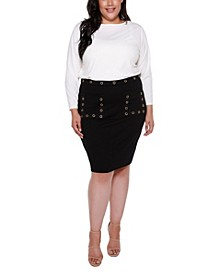 Black Label Plus Size Fitted Pocket Skirt