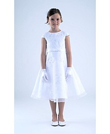 Big Girls Cap Sleeve Embroidered Satin Communion Dress with Organza Overlay Skirt