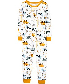 Baby Boy Construction Cotton Footless Pajamas