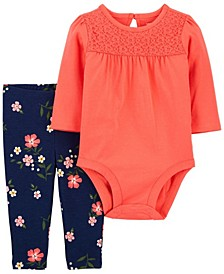 Baby Girl Lace Bodysuit Pant Set