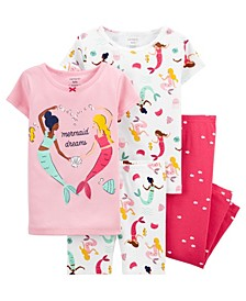 Baby Girls Mermaid Pajama Set, 4 Pieces