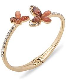 Gold-Tone Crystal & Stone Butterfly Bypass Bangle Bracelet