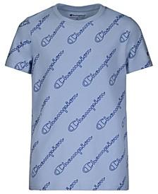Big Boys All Over Print Diagonal Script Short Sleeve T-shirt