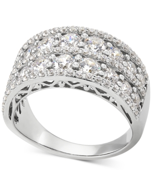 Cubic Zirconia Two Row Statement Ring in Sterling Silver