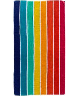 Rainbow Stripe Velour Beach Towel, Created for Macy's