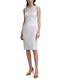 Lace-Overlay Sheath Dress