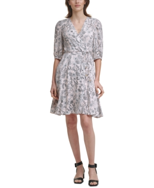 Calvin Klein Printed Balloon-sleeve A-line Dress In Blossom Multi