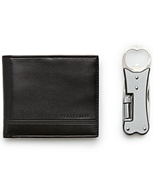 Men's Smooth Bifold Wallet and  Pocket Multitool